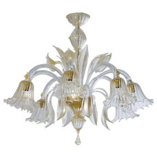 Italian Chandelier in transparent Murano glass and 24K Gold, 1990s