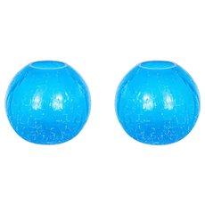 """Italian """"Spheres"""" vases in Murano Glass light-blue, Cenedese 1970s"""