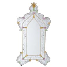 Italian Mirror in Murano Glass in transparent and multicolor