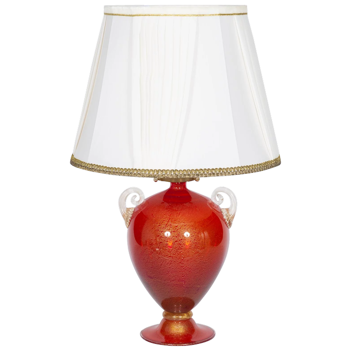 Italian Table Lamp In Murano Glass Red And 24K Gold : Vintage Murano  Gallery | RubyLUX
