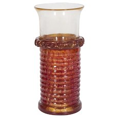 Italian Venetian Vase in Murano Glass 24K Gold and red, Barovier & Toso 1970s