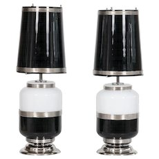 Italian pair of Table lamps in Murano Glass black and white