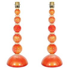 Italian Venetian Table lamps in Murano Glass 24K Gold and orange