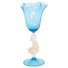 Italian handblown goblet in Murano glass light-blue
