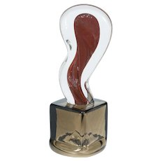 "Italian Sculpture ""abstract"" in Murano Glass, signed by Romano Donà"