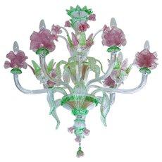 "Italian Murano glass ""Flower"" Chandelier, circa from 1990"