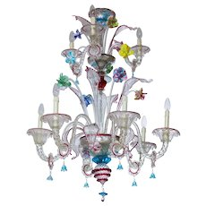 Italian Chandelier in Murano Glass transparent and multicolor, 1950s