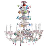 Italian  murano glass chandelier attributed to Galliano Ferro around 1950s