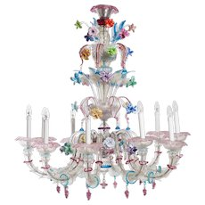 Italian  murano glass chandelier attributed to Galliano Ferro around 1950s