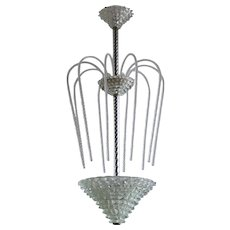 Italian Murano Glass Chandelier attributed to Ercole Barovier around 1940s