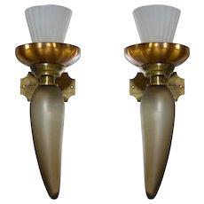 Pair of Italian Venetian Murano Glass Sconces around 1950s