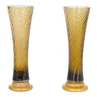 Pair of Italian Venetian Murano Glass Vases, Attributed to Seguso around 1980s