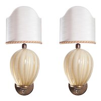 Pair of Italian Venetian Sconces, Barovier & Toso around 1950s