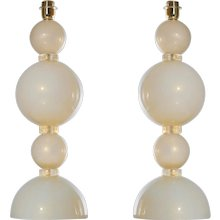 Pair of Italian Venetian Murano Glass Table Lamps in Ivory and Gold, circa 1970