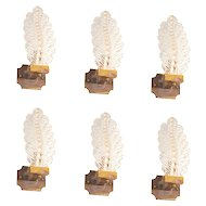 Six Italian Venetian Murano Glass Leaf Sconces, around 1960s