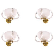 Four Italian Venetian Murano Glass Sconces, Camer Glass around 1960s