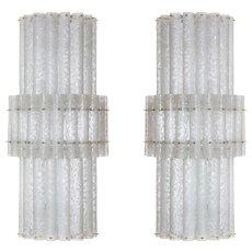 Pair of Italian Venetian Murano Glass Sconces, Mazzega around 1970s