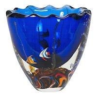 """Italian Venetian Murano Glass """"Aquarium"""" Vase, circa 1980s"""