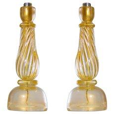 Pair of Italian Venetian Table Lamps in Murano Glass, 1960s Seguso