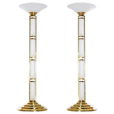 Pair of Italian Venetian Floor Lamps in Murano Glass around 1960s