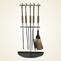 French Iron and Brass Equestrian Themed Fireplace Tool Set