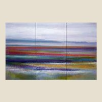Modern Abstract Landscape Paint on Canvas Tryptique