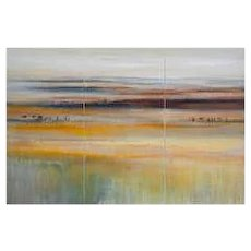 Modern Abstract Landscape Oil on Canvas Tryptique
