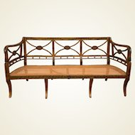 19th Century English Hand-Painted Sheraton Style Caned Seat Settee