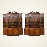 Pair of a George III Mahogany Breakfront Library Bookcases