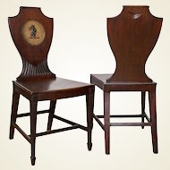 Distinctive Pair of English Regency Era Painted Mahogany Hall Chairs