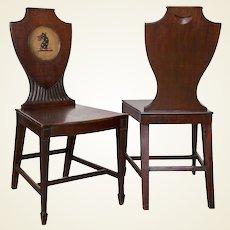 Distinctive Pair of English Regency Era Painted Mahogany Hall Chairs