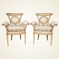 Pair of Louis XVI Style Parcel-Gilt Upholstered Fauteuils