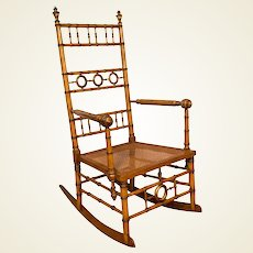 Aesthetic Movement Faux Bamboo Rocking Chair Attributed to R.J. Horner & Co.