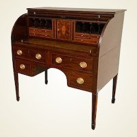 Important Baltimore Federal Period Eagle Inlay Mahogany Cylinder Desk