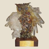Brutalist Owl Sculpture with Plaque Signed by Robert Redford