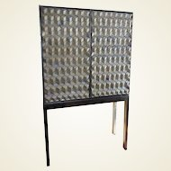Artisan Crafted Iron Framed & Ceramic Three Dimensional Design Cabinet on Stand