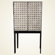 Artisan Crafted Iron and Stone Tile Three Dimensional Illusion Cabinet on Stand