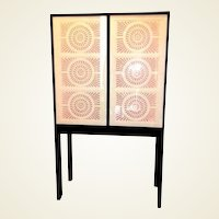 "Limited Edition Artisan Crafted ""Origami"" Glass and Iron Bar Cabinet"