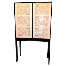 """Limited Edition Artisan Crafted """"Origami"""" Glass and Iron Bar Cabinet"""