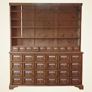 Pine Apothecary Cupboard with Enamel Labelled Drawers