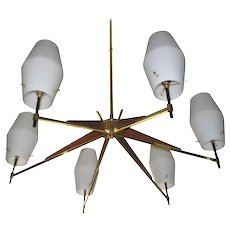 Mid-Century Danish Modern Walnut, Brass and Opaque Glass Chandelier