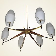 Mid-Century Danish Modern Walnut, Brass and Opaque Glass Chandelier