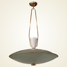 Mid-Century Italian Saucer Form Glass and Brass Pendant Chandelier Attributed to Stilnovo