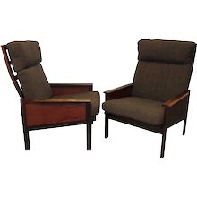 """Pair of High Back """"Capella"""" Lounge Chairs by Illum Wikkelsø"""