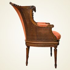 A Late Victorian Caned Mahogany Library Chair