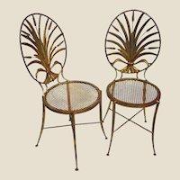 Pair of Italian Gilt Metal Wheat Sheaf Chairs