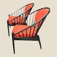Pair of Midcentury Swedish Lacquered Bent Beech Wood Hoop Chairs