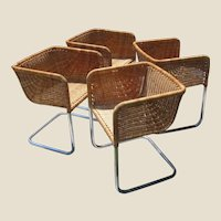 Set of Four Chrome and Wicker Chairs by Fabricius & Kastholm
