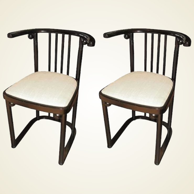 Pair Of Re Edition Series 728 Chairs Originaly Desiged Josef Hoffmann