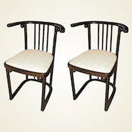 Pair of Re-Edition Series 728 Chairs Originaly Desiged Josef Hoffmann